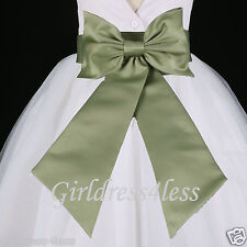 Wedding Flower Girl Dress Sash Bow Waistband Belt S M L 6M 12M 18M 2 4 6 8 10 12