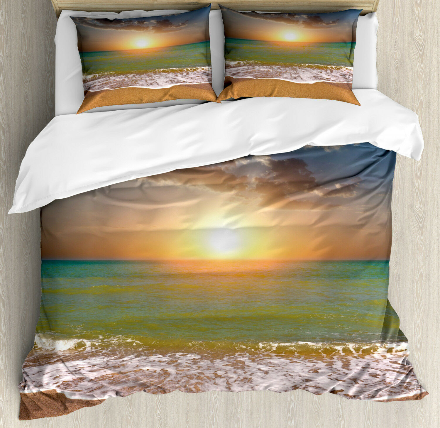 Sunset Duvet Cover Set with Pillow Shams Idyllic Beach Scenery Print