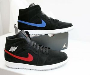 Nike Air Jordan 1 Mid Multicolor Swoosh Black University Red
