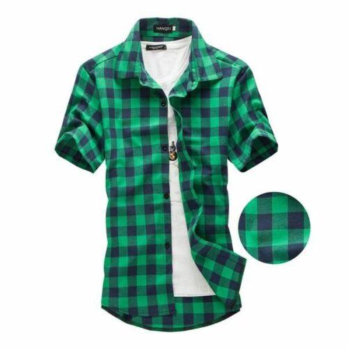 Camisas de Hombre Manga Corta Moda de Vestir Camisa Formal de Cuadros Hombre New