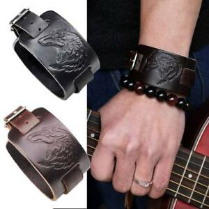 Mode Adler Wolf Kopf Leder Totem Armband Punk Armband Armband Schmuck Neu
