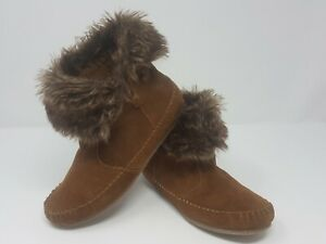 Minnetonka-Moccasin-Womens-Size-5-5-Brown-Leather-Ankle-Booties-Faux-Fur