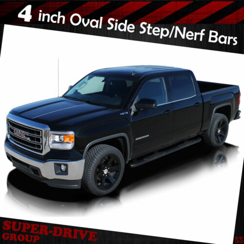 """For 1999-2003 FORD F150 Super Cab 4/"""" Oval Black Curved Nerf Bars Side Step Board"""