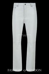 Men-039-s-Real-Leather-Trouser-JEANS-STYLE-039-White-Lamb-Nappa-Classic-Biker-Pants-501