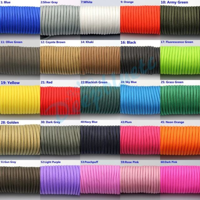 Multicolor 550 Paracord Parachute Cord Lanyard Mil Spec Type III 7 Strand 100FT