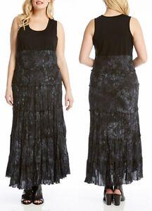 Details about Karen Kane 2L91000W Black Plus Size Tie Dye Print Tiered Maxi  Dress - $168