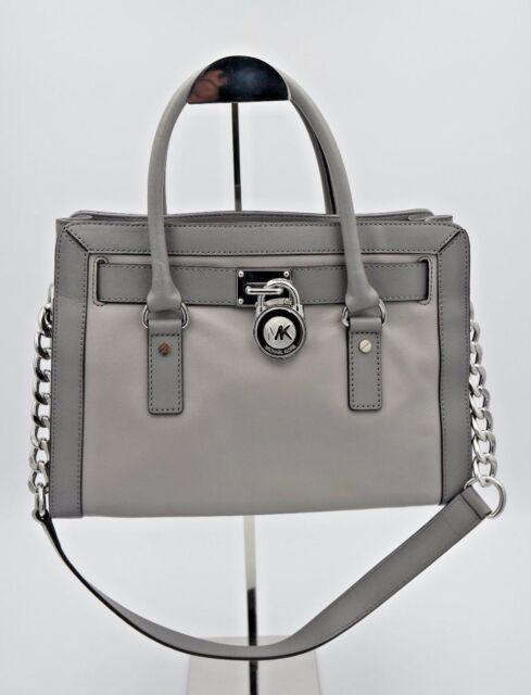 969bd2bc11ca Michael Kors Hamilton Patent Frame out East West Satchel Leather Grey