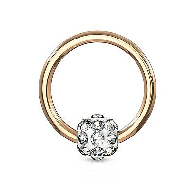 "Captive Nipple Ear Ring 14 Gauge 1//2/"" Rose Gold Plate 4mm Ball Body Jewelry"