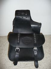 Genuine Vintage Harley-Davidson Leather Studded Throw-Over Saddle Bags (Black)