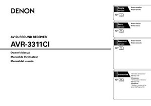 denon avr 3311ci av receiver owners manual. Black Bedroom Furniture Sets. Home Design Ideas