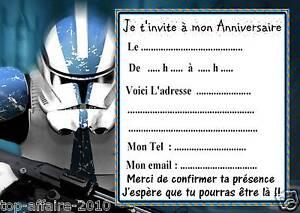5 Cartes Invitation Anniversaire Star Wars 011 D Autres En Vente