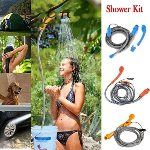 12V Outdoor Automobile Car Shower Set Water Spray Pump Portable Camping AR