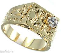 Mens 0.8ct Nugget Design 18kt Gold Plated Fashion Ring