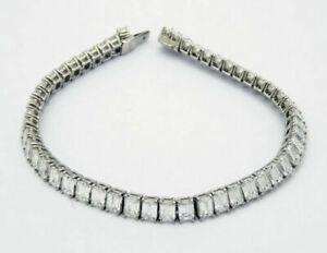 Mens-14k-White-Gold-Over-1-Row-Emerald-Cut-Diamond-Prong-Link-Tennis-Bracelet-8-034