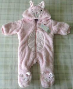6a87039e4ea7 Baby Girls Adorable Pink Bunny Rabbit Soft Plush All In One Warm ...