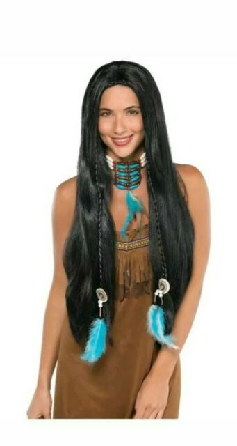 Native American Indian Wig Fancy Dress  Accessories  Hair Ladies Men Party