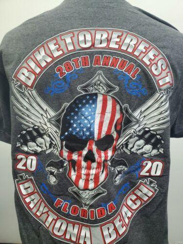 BIKETOBERFEST DAYTONA BEACH 2020 Bike Week T Shirt American Skull