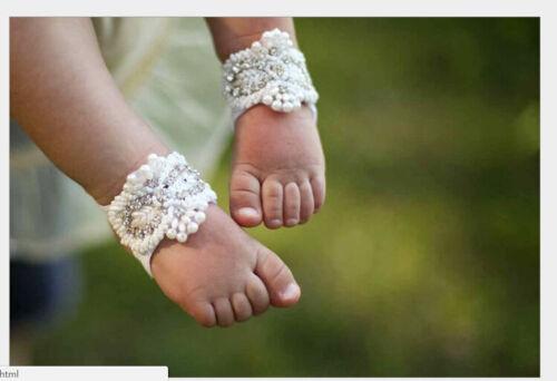 Newborn Baby Girl Kid Infant Headband Crystal Foot Flower Hair Band AccessoriesG