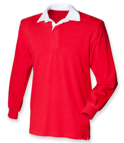 Various Colours Front Row Boys Long Sleeve Rugby Polo Shirt Ages 5-13