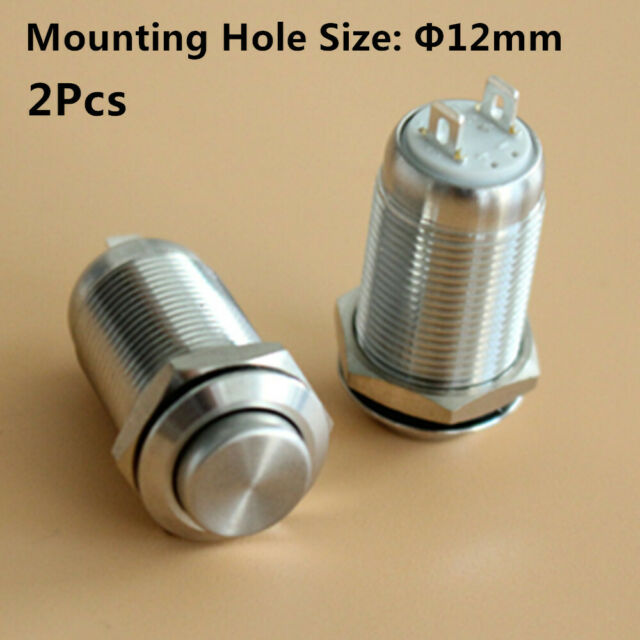 10x Waterproof Stainless Steel Push Button Momentary ON//OFF Switch 12mm Silver