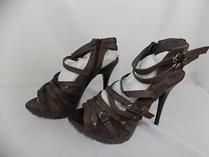 8 à ouvert bout Miss Sandales Sandales Sixty Sz 5 Brown Strappy Chaussures 38 Us Aminda w8vNmn0O