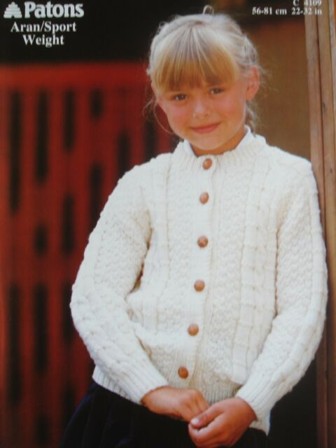 Vintage 80s Patons C4109 Childrens Girls Aran Cable Cardigan