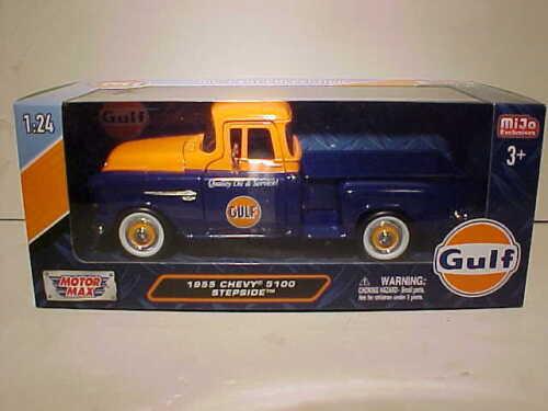 GULF OIL 1955 Chevy Pickup Stepside Diecast Truck 1:24 Motormax 8 inch Blue Org