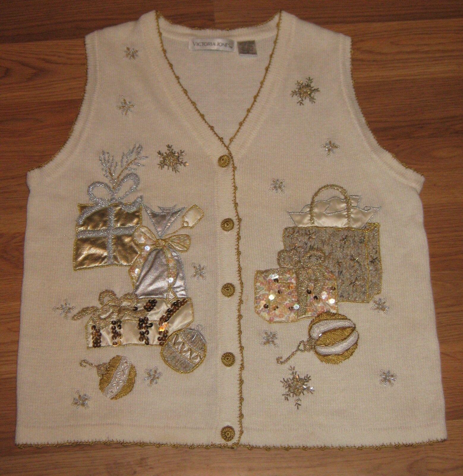 Victoria Jones Jones Jones Sweater Vest Appliqued Embroidered Christmas Holiday Sz M  CL201 517038