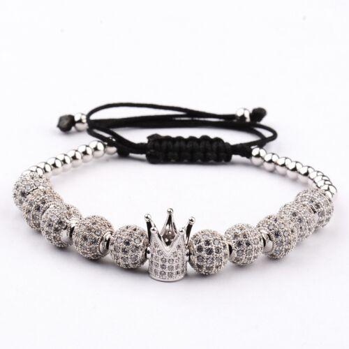 Luxe Charme Plaqué Argent Micro Pave Zircone cubique BOULE COURONNE tressé bracelets de Noël Cadeaux