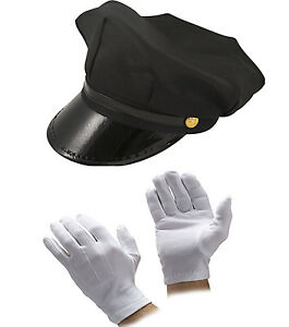 e381c455403 MEN S 2PC BLACK CHAUFFEUR HAT GLOVES LIMO DRIVER FANCY DRESS COSTUME ...