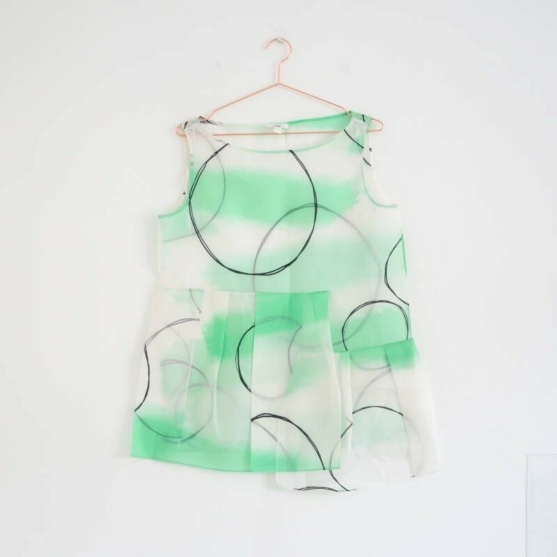 Hof115  COS Chemisier Soie Motif Débard Sans Manche Printed Silk Organza Top 36 UK 10