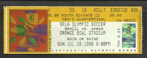 SOCCER-OLIMPIC-1996-SOCCER-TICKET-BRAZIL-VS-GHANA-VERY-FINE