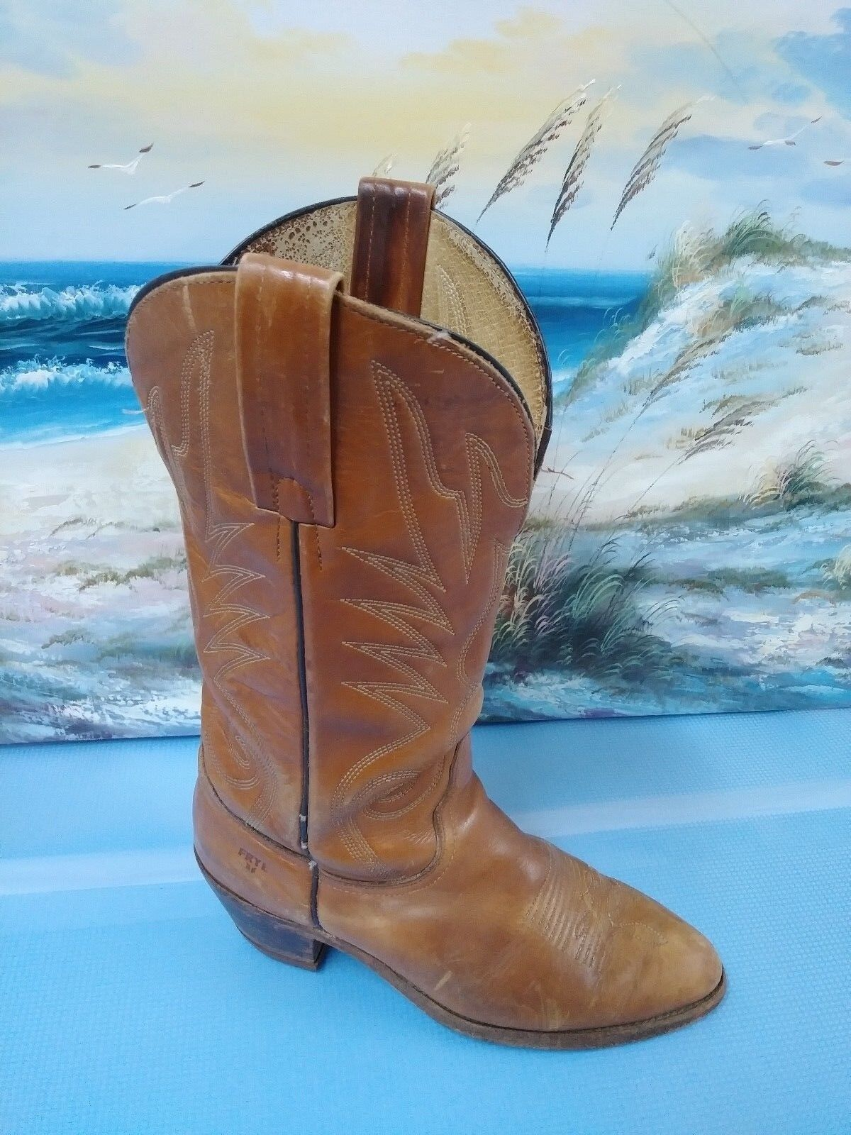 FRYE LEATHER WESTERN WOMENS / MENS BOOTS (3215) SIZE 8 E MENS 9.5 WOMENS