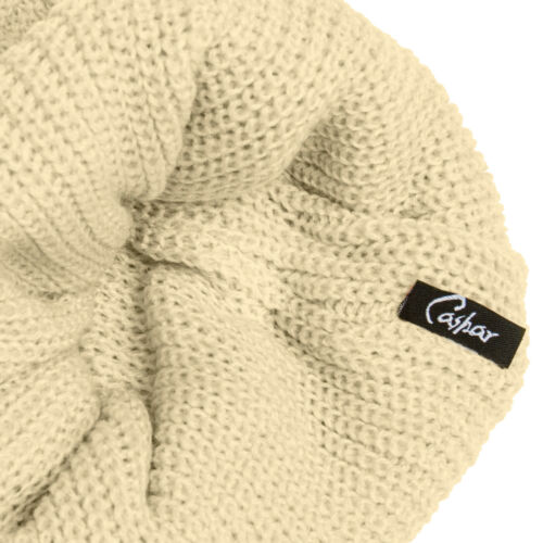CASPAR MU130 Ladies Women Knitted Long Beanie Slouch Cable Pattern Large PomPom