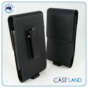 Black-PU-Leather-Belt-Clip-Phone-Case-Samsung-Apple-Sony-Telstra-Nokia-Huawei