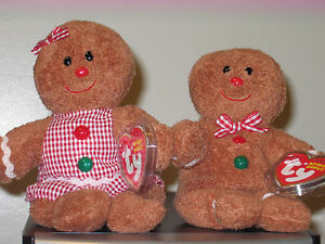 79076bb19f2 Ty Beanie Baby Set ~ HANSEL   GRETEL the Gingerbread Man ~ MINT with ...