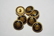8pc 20mm Crested Copper Black Military Metal Blazer Coat Cardigan Button 2802