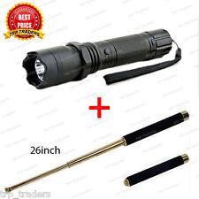 Combo Self Defense Stun Gun with Flashlight Torch & Folding Stick 26 inch