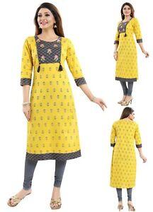 Women-Indian-Kurti-Tunic-Yellow-Cotton-Embroidery-Top-Kurta-Shirt-Dress-MM223