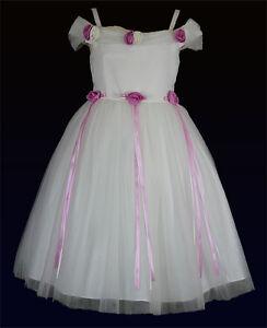 ... -Abendkleid-Baby-Kleid-Hochzeitskleid-Festkleid-in-Weiss-Pink-Gr-80