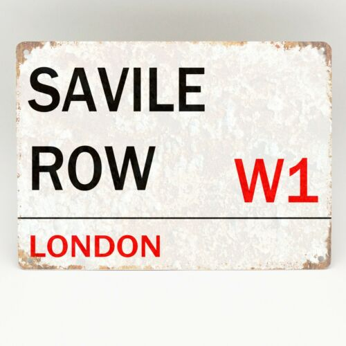 Savile Row W1 London Rue Road Signe en métal aluminium rétro porte Bling Plaque