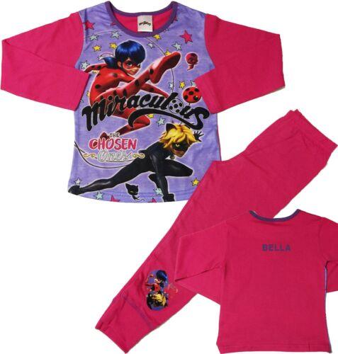 Girls Miraculous Ladybug Pyjamas Sleepwear Can Be Personalised Ages 4 to 10 Yrs