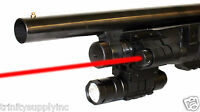 Mossberg 500 Remington 870 Shotgun Rail Barrel Mount & Red Laser And Flashlight