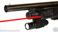Mossberg 500 Remington 870 Shotgun Rail Barrel Mount & Red Laser And Flashlight