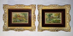 Gold-Gesso-Wood-Frame-Antique-LaVera-Ann-Pohl-Countryside-Cottage-Oil-Paintings