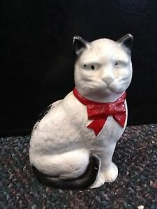 """VINTAGE CAST IRON CAT BANK ABOUT 5"""" HIGH SCREW ON THE SIDE"""