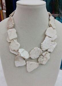 Charm-Chunky-White-Turquoise-Slice-Handmade-BIb-Necklace-Woman-Gift-Habdmade