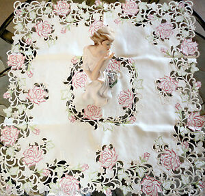 """Fancy Pink Rose Cream Lace Table Topper 43"""" Doily Tablecloth Dresser Scarf"""