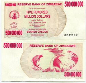 Image Is Loading Zimbabwe 500 Million Dollars 2008 Bearer Cheque Unc