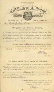 1903 Missouri Insurance Dept Certificate Of Authority ...